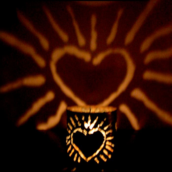 CANtern tin luminary radiant heart design