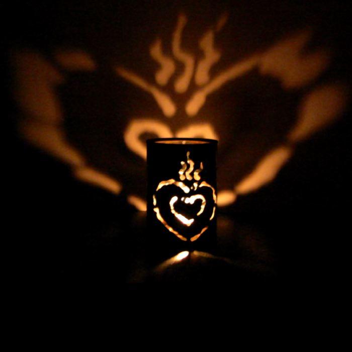 CANtern tin luminary sacred heart design