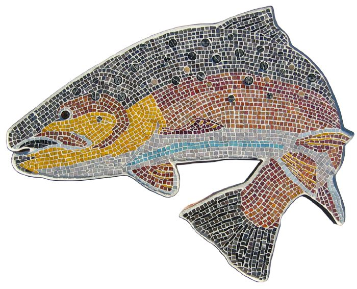 mosaic trout in sicis glass