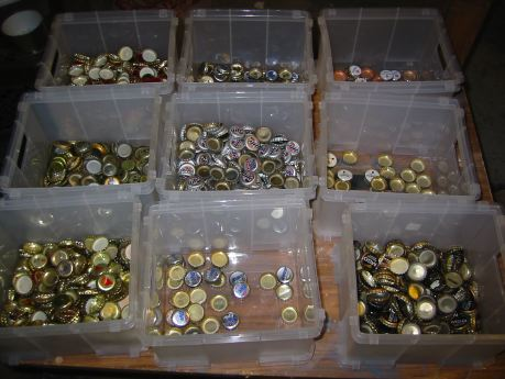 sorting bottle caps