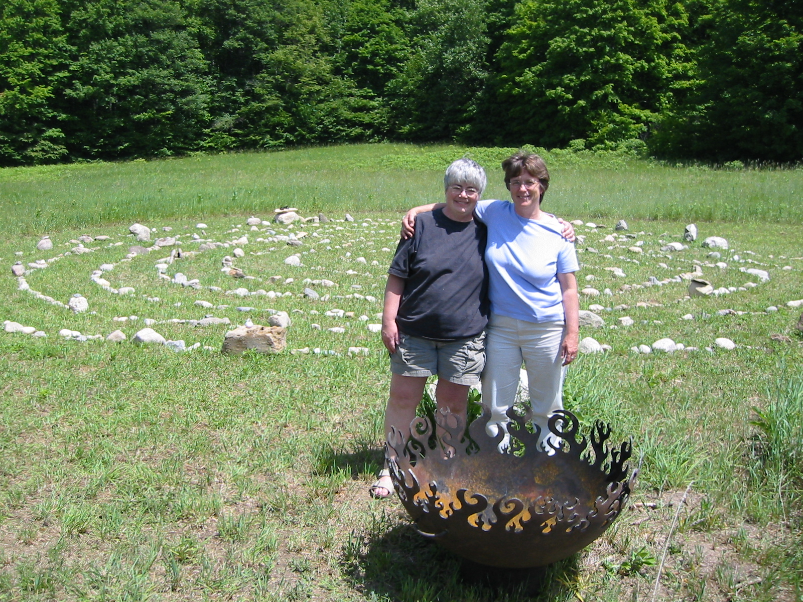 firebowl in a ring of stones for solstice