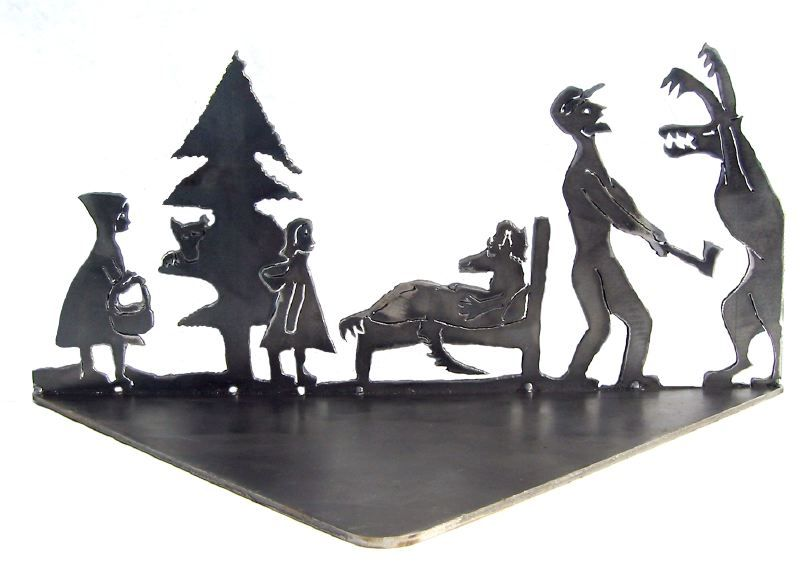 little red riding hood narrative steel sculpture
