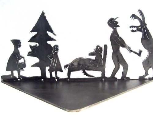 little red riding hood narrative steel sculpture