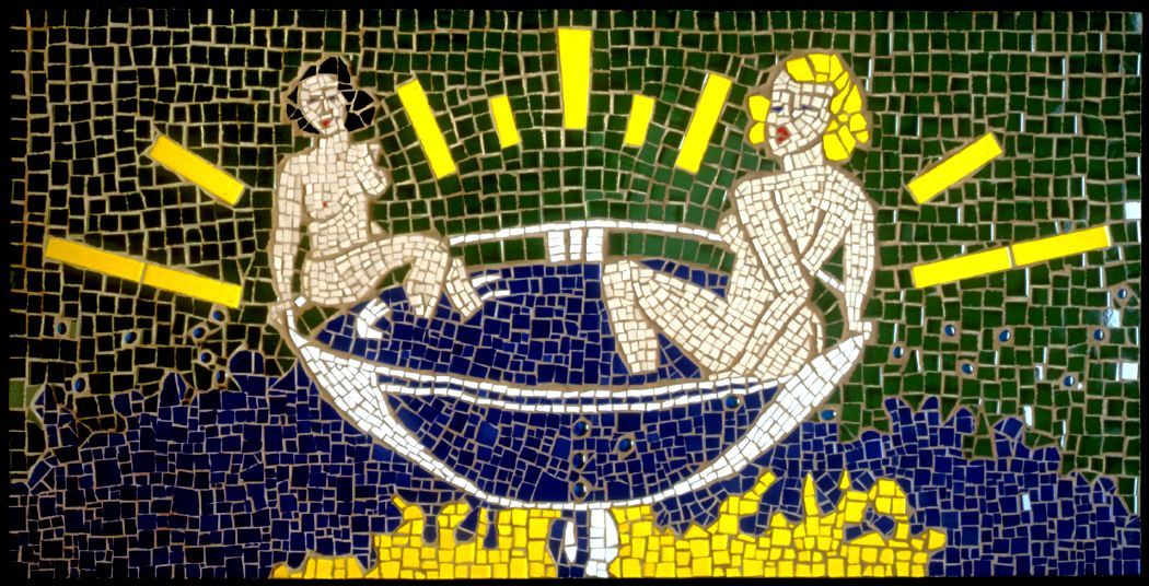 Cocktail Girls, 1999 ceramic and glass mosaic table