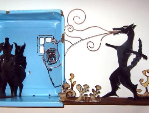 Three Little Pigs Narrative Steel Sculpture
