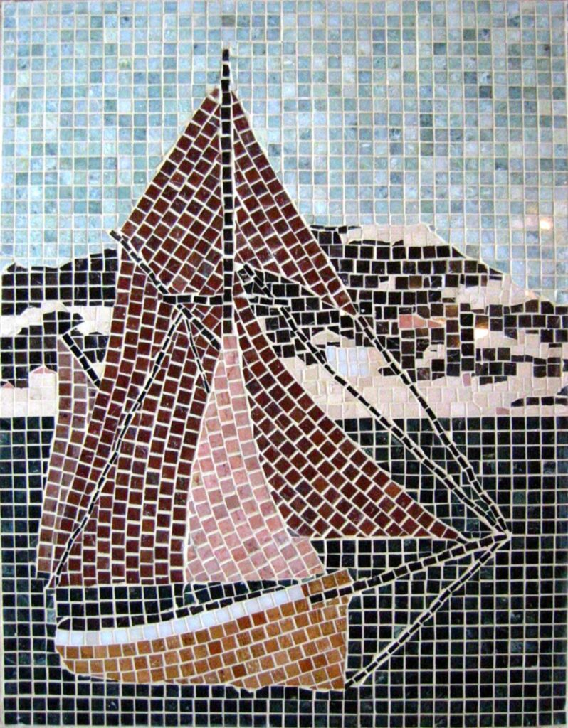 Mosaic of the Toftevaag sailing off the coast of the Rock of Gibraltar