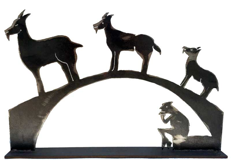 Three Billy Goats Gruff Narrative Sculpture