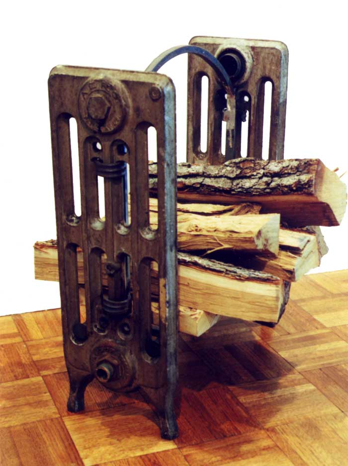 firewood cradle made from recycled steam radiator panels