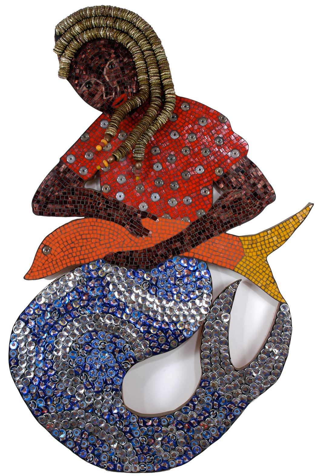 La Siren II: A Mosaic Mermaid Sculpture in Bottle Caps and Glass, 2004