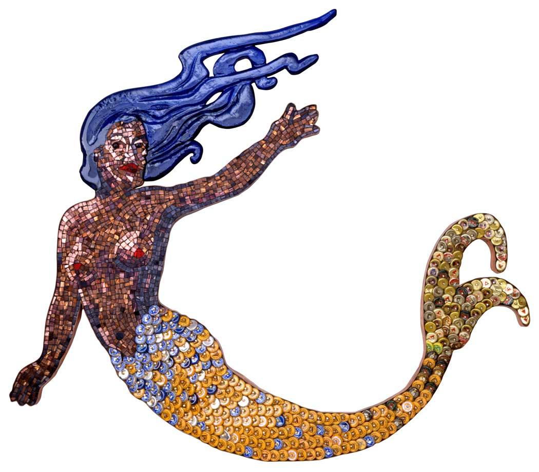 Mermaid Mosaic Sculpture in Bottle Caps and Italian Glass, 2000