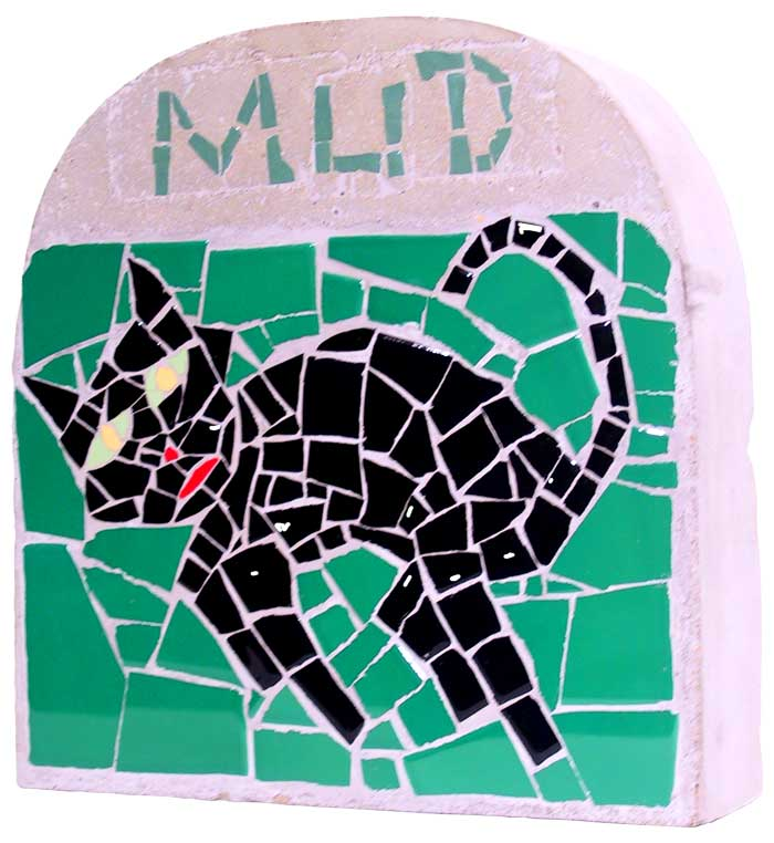 mosaic portrait tombstone for a pet