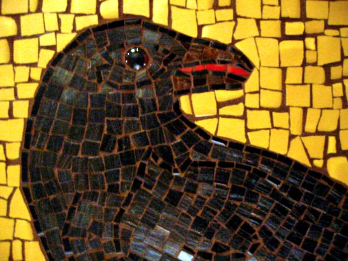 Peter the crow mosaic in glass and ceramic