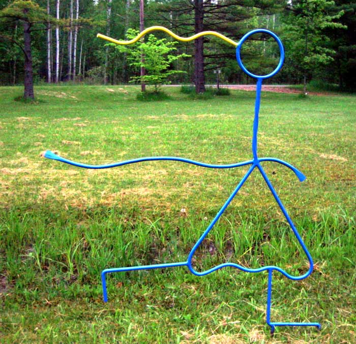 Tag! Line art sculpture of running girl