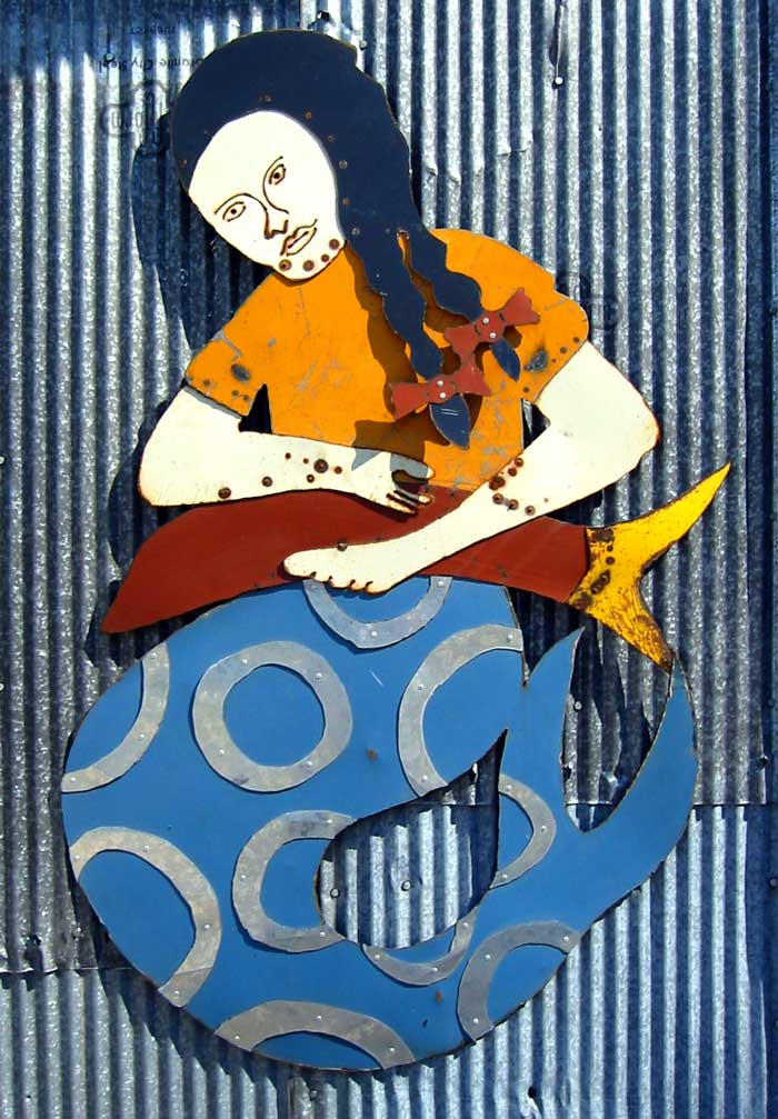 A Mermaid and her Fish, 2006 steel collage sculpture