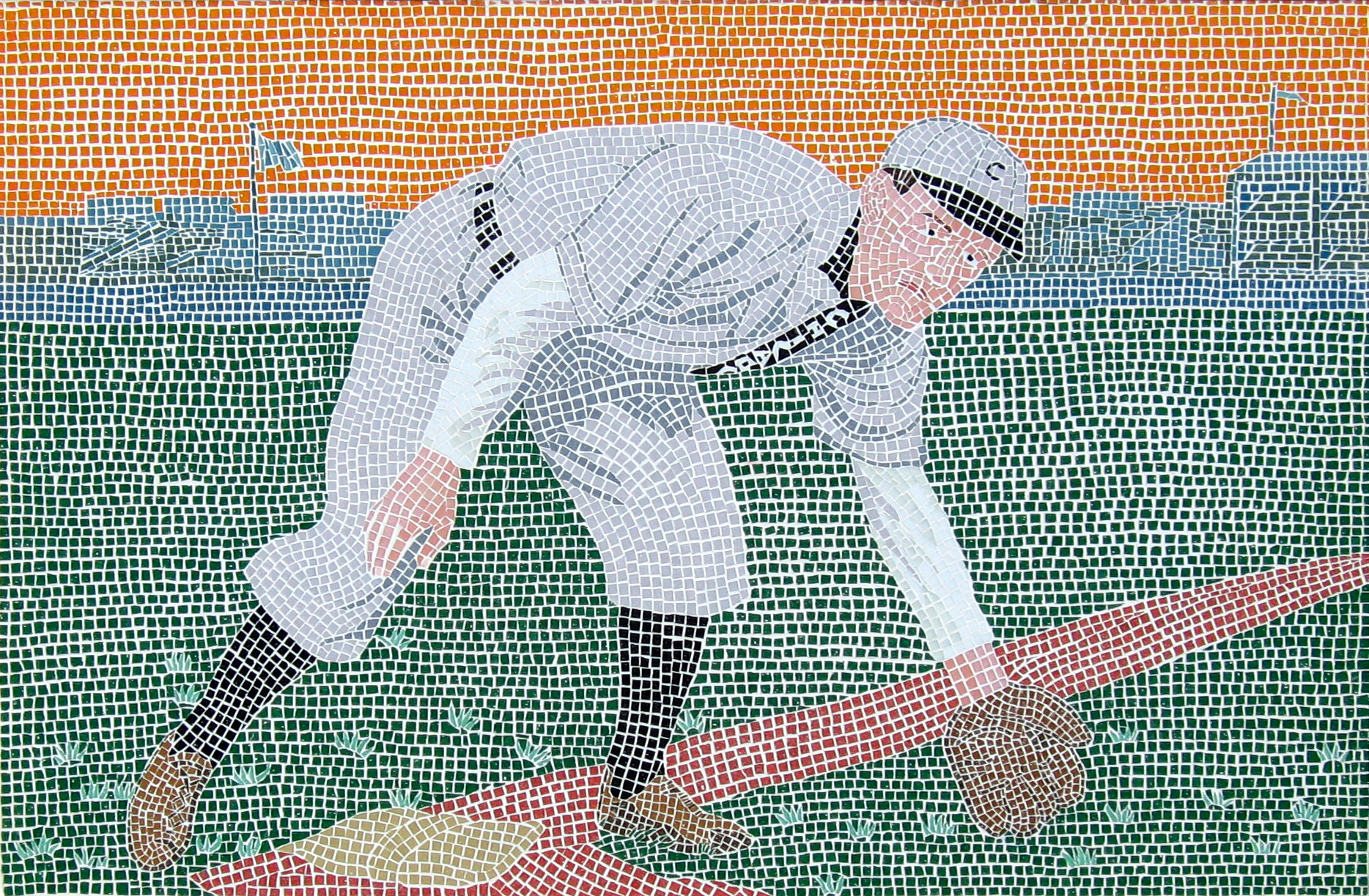 Johnny Evers Chicago Cubs glass mosaic commissioned by LVBB