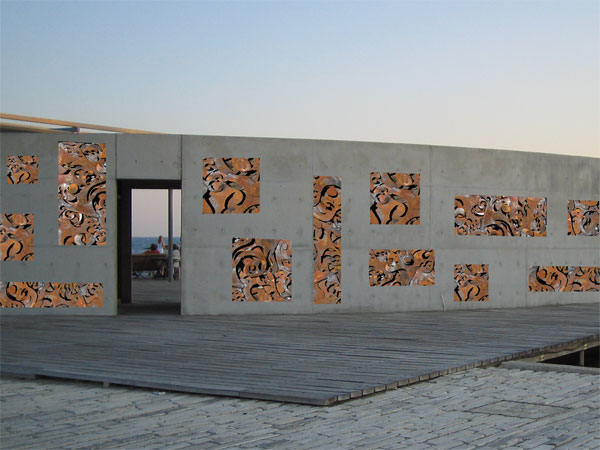 embedded steel wall sculpture