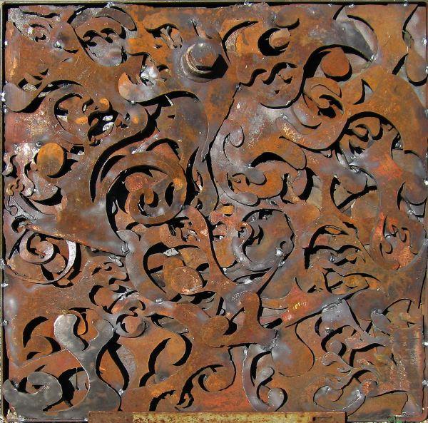 Scrap metal art Panel