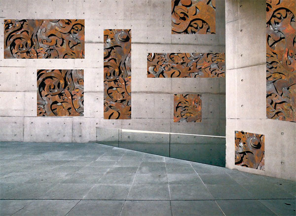 recycled steel sculpture for concrete walls