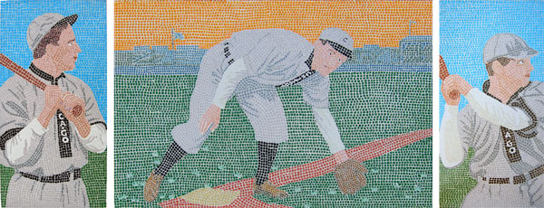 Tinker to evers to chance mosaic triptych portraits