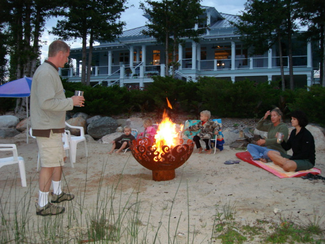 Great Bowl O' Fire 37 Inch Sculptural Firebowl™ on Lake Michigan