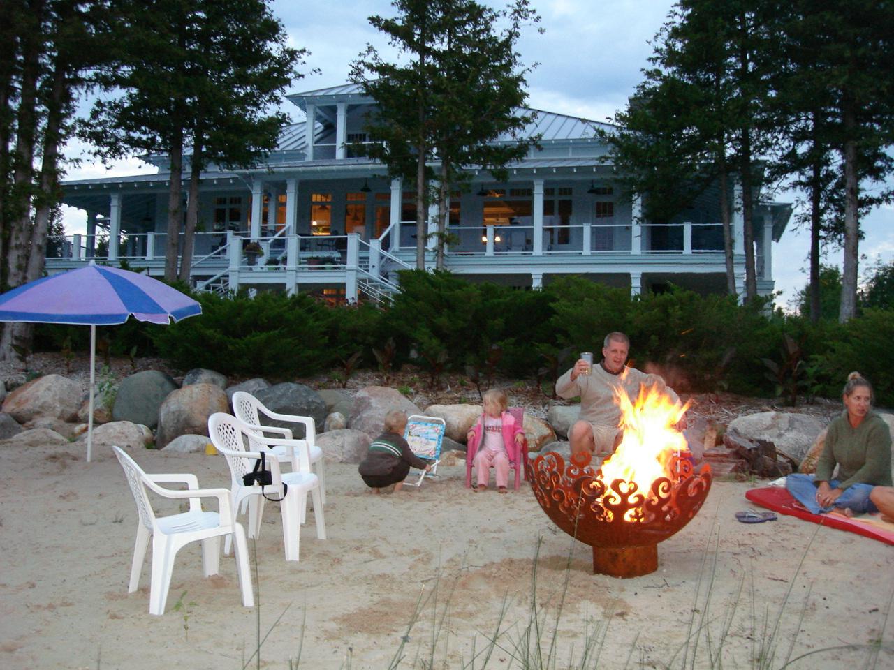 Great Bowl O' Fire 37 Inch Sculptural Firebowl™ on Lake Michigan