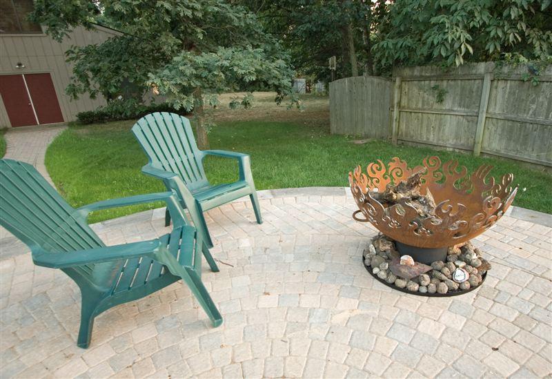 Great Bowl O' Fire 37 Inch Sculptural Firebowl™ on patio, Kalamazoo, MI