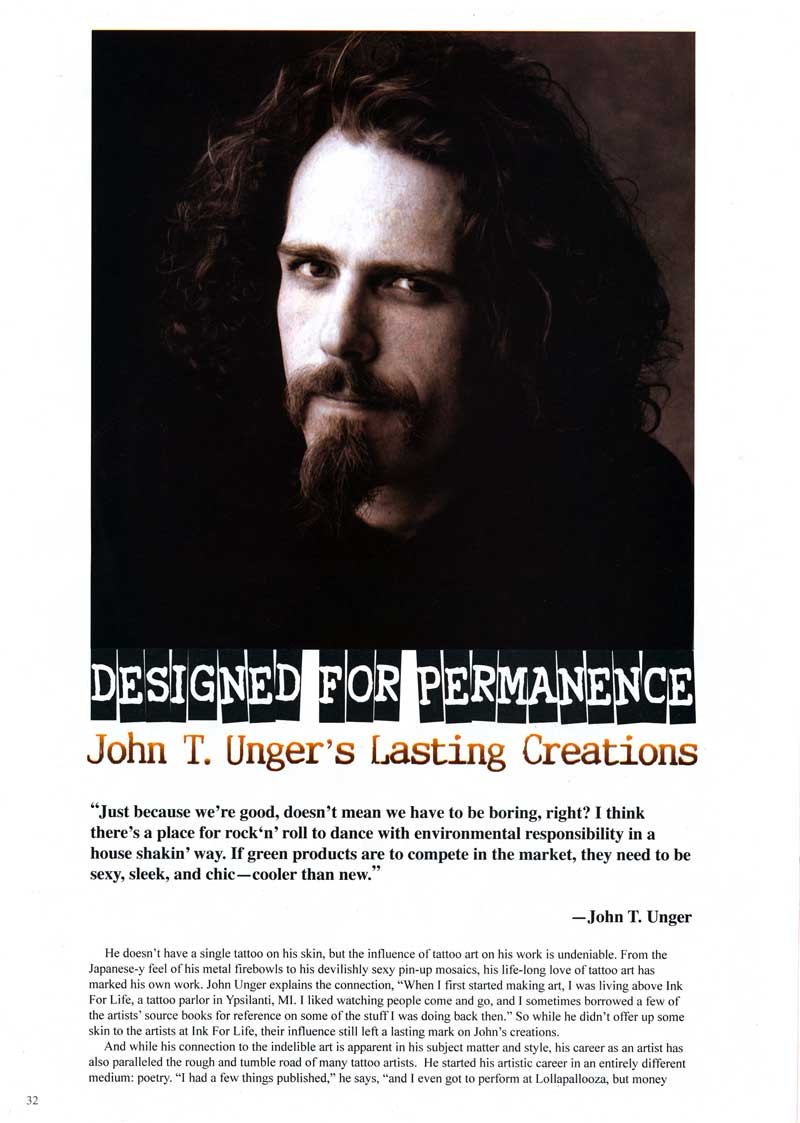 "Surles, Joy. ""Designed for Permanence: John T. Unger's Lasting Creations."" Tattoos for Men Nov. 2007: 32-35."