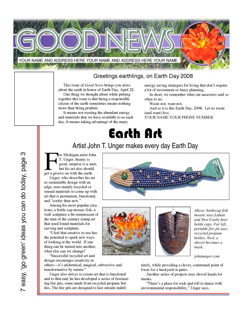"""Artist John T. Unger Makes Every Day Earth Day."" Pages Magazine 26 Feb. 2008"