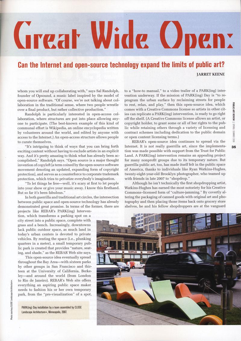 Public Art Review, Spring-Summer 2008