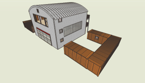 South view of Container Studio with courtyards