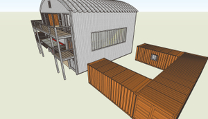 North view of Container Studio with courtyards