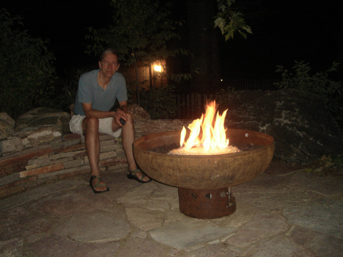 Enjoying the First Fire in the Font O' Fire Sculptural Firebowl