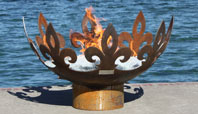 Fiery Fleur-de-Lis Sculptural Firebowl