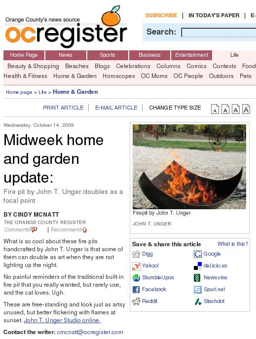 "McNatt, Cindy. ""Midweek Home and Garden Update: Fire Pit by John T. Unger Doubles as a Focal Point."" OC Register"