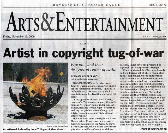 "Drahos, Marta H. ""Artist in Copyright Tug-of-War."" Traverse City Record Eagle 13 Nov. 2009, Arts & Entertainment sec.: 1C-2C. Print."