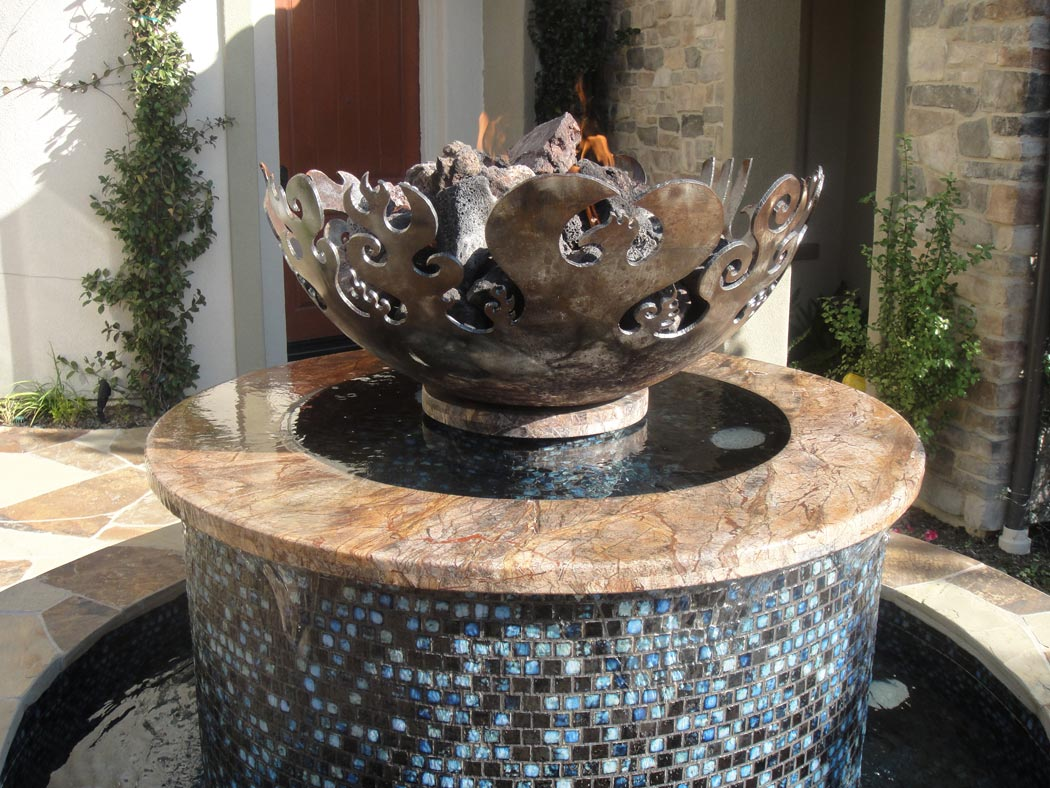 Water And Fire Feature Firebowl Fountain
