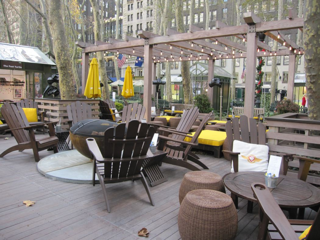 Big Bowl O' Zen 37 Inch Sculptural Firebowl™ at Southwest Porch in Bryant Park, NYC