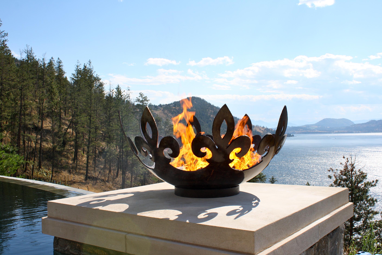 Fiery Fleur-de-lis 37 Inch Sculptural Firebowl™ on Lake Okanagan Near Kelowna, BC