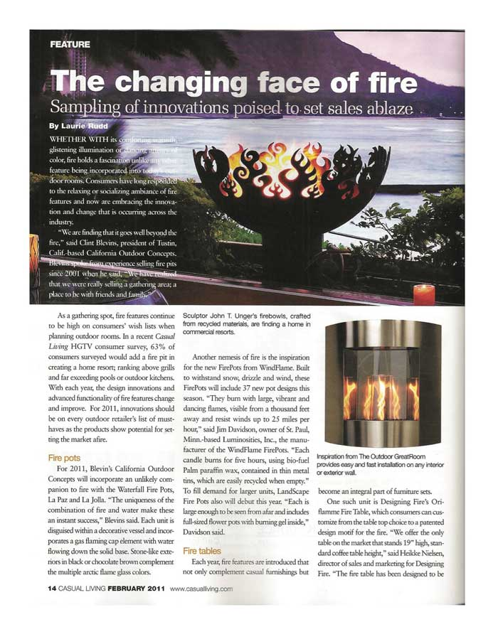"Rudd, Laurie. ""The Changing Face of Fire."" Casual Living Feb. 2011"