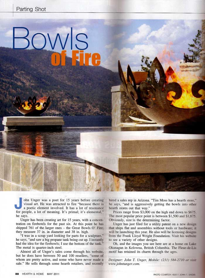 "Wright, Richard. ""Bowls of Fire."" Hearth & Home May 2011: 88. Web."