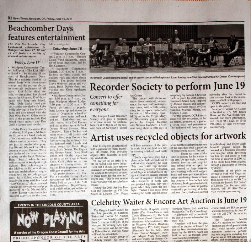 """Artist Uses Recycled Objects for Artwork."" News-Times [Newport, OR] 10 June 2011: B2. Print."