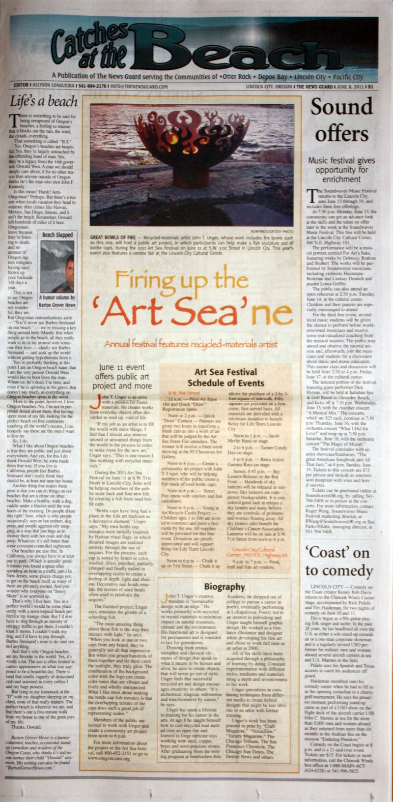 """Firing up the 'Art Sea'ne."" The News Guard [Lincoln City, OR] 8 June 2011: Front Cover, B1. Print."