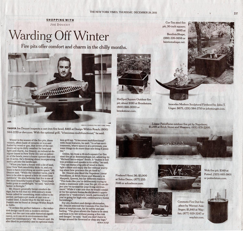 "Suqi, Rima. ""Warding Off Winter."" The New York Times 29 Dec. 2011: D1-D7. Print."