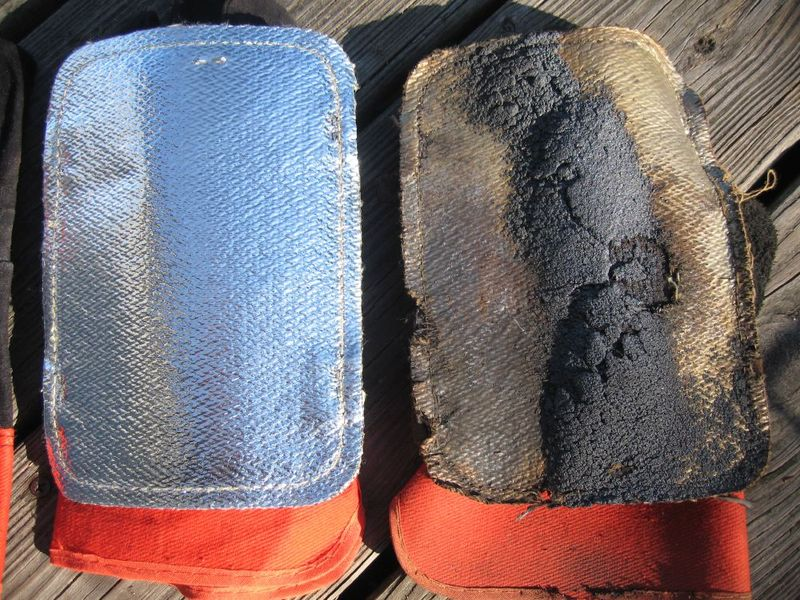 Note the holes where steel has burned right through the Kevlar.