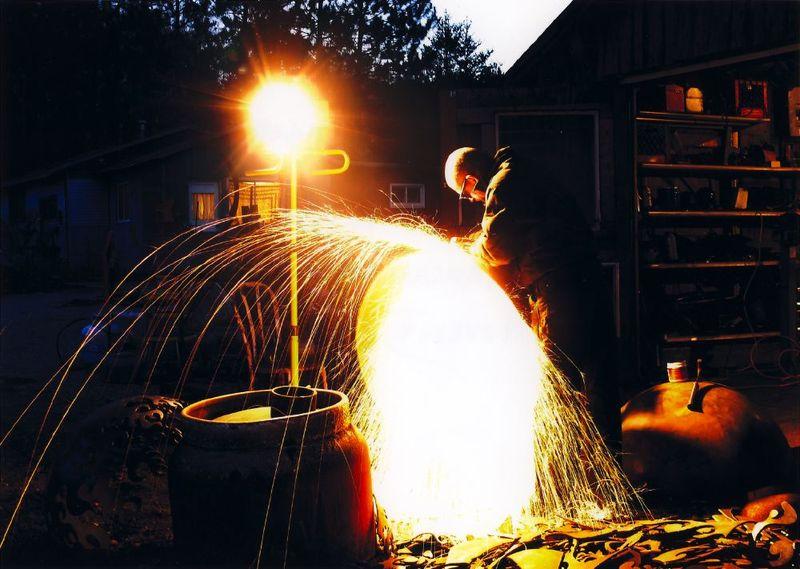 john t unger cutting a firebowl