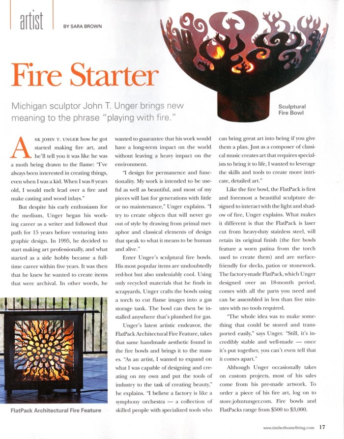 "Brown, Sara. ""Fire Starter."" Timber Home Living Dec. 2012: 17. Print."