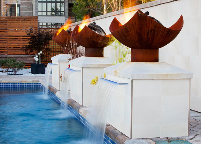 Fire Features And Fountains Add Amazing Light Effects To Montreal Pool John T Unger