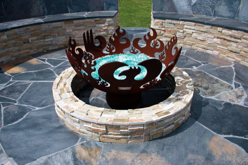 Great Bowl O' Fire Firebowl with two tone stone patio