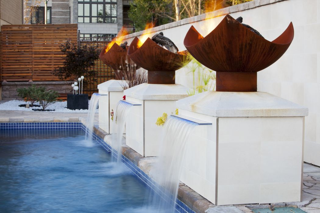 King Isosceles Firebowl with Pool and Fountain in Montreal