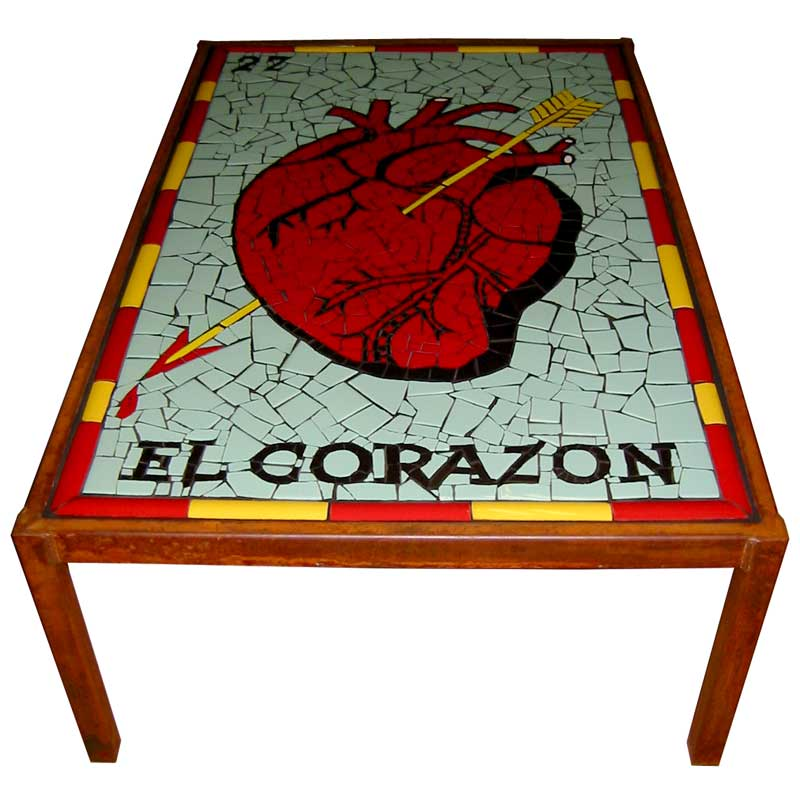 Mosaic table el corazon loteria card